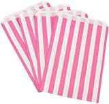 The Paper Bag Company 7 x 5-Inch Candy Stripe Paper Bags, Pack of 100, Pink