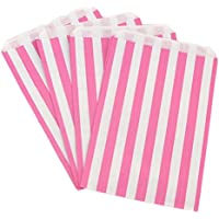 The Paper Bag Company Candy Stripe Paper Bags, 5 x 7 Inches - Pink, Pack of 100