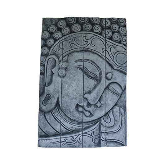gartendekoparadies.de Massives Buddha Kopf Relief Wandbild groß Feng-Shui aus Steinguss frostfest