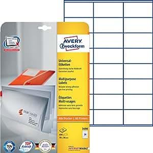 Avery zweckform tiquettes 70 x 36 mm blanc bord - Bureau en gros etiquettes personnalisees ...