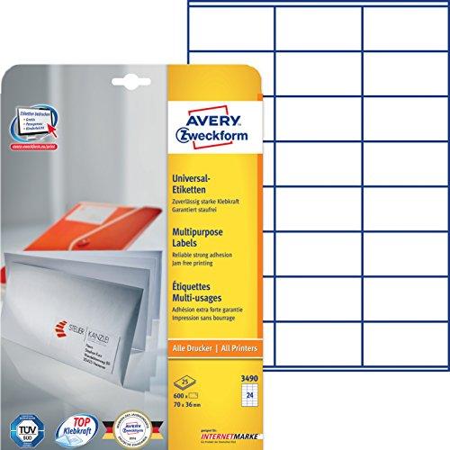 Produktbild Avery Zweckform 3490 Adressetiketten (A4, 600 Plus 120 Etiketten extra, 70 x 36 mm) 30 Blatt, weiß