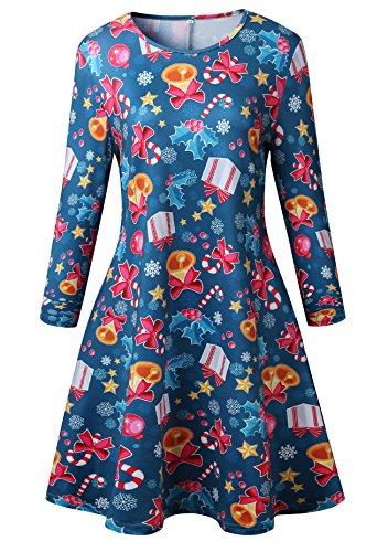 Frauen Mädchen Weihnachten Kleid Santa Weihnachten Geschenk Herz Print Swing (Santa Kleid Kinder)