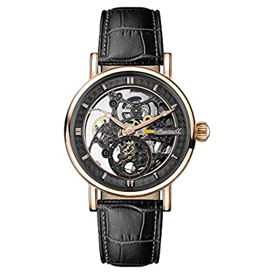 Ingersoll Men's The Herald Automatic Watch with Skeleton Dial and Black Leather Strap I00403