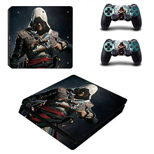 Playstation 4 Slim + 2 Controller Aufkleber Schutzfolien Set - Assassins Creed /PS4 S