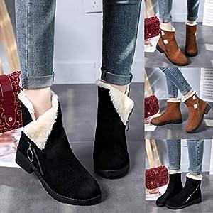 TianWlio Damen Stiefel Frauen Volltonfarbe Stiefeletten Quadratische Fersen Runde Zehenschuhe Outdoorschuhe Reißverschluss Wildleder Halten Warme Schneeschuhe Brown Black 35-41
