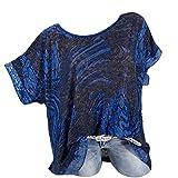 Lazzboy Donna T-Shirt Top Plus Size Ethnic Graffiti Printed 10-24 O-Neck Manica Corta Camicetta Oversize(S(42),Blu Scuro-2)