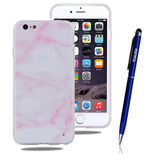 iPhone 6 / iPhone 6S Hülle, Yokata Weich TPU Soft Case mit Silikon Bumper Schutzhülle Dünne Case Cover + 1 X Stylus Pen - Marmor 8 Marmor 4