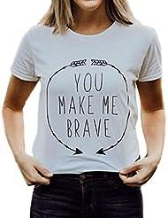 Malloom T-shirt à manches courtes avec imprimé de lettre et lettre pour femme
