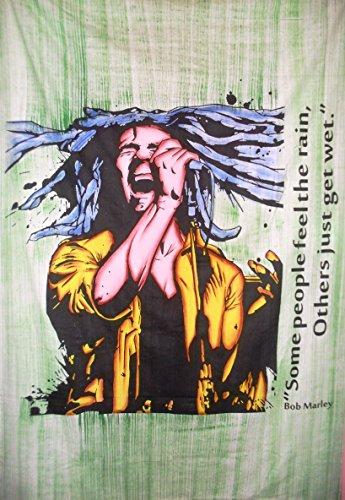Traditionelle Jaipur handbemalt Bob Marley Tapisserie Hippie Wandbehang, indische Baumwolle Tagesdecke, Bohemian Picknick Werfen, Gypsy Beach Decke, Boho Wohnheim Decor