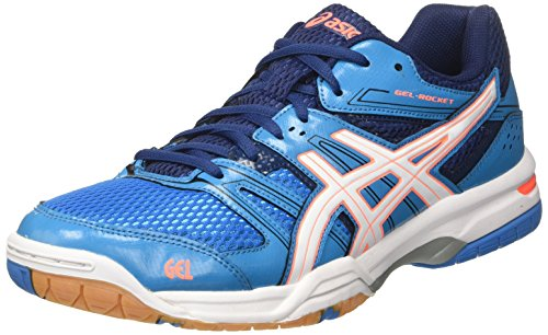 ASICS Gel-Rocket 7, Scarpe da Ginnastica Donna, Blu (Blue Jewel/White/Flash Coral), 42.5 EU