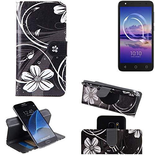 K-S-Trade Schutzhülle für Alcatel U5 HD Single SIM Hülle 360° Wallet Case Schutz Hülle ''Flowers'' Smartphone Flip Cover Flipstyle Tasche Handyhülle schwarz-weiß 1x