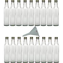 Viva-Haushaltswaren - Botellas de cristal (18 unidades tapón de rosca 250 ml rellenables incluye embudo blanco de 9 cm de diámetro)