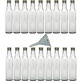 Viva-Haushaltswaren - 18 Glasflaschen mit Schraubverschluss 250 ml zum Selbstbefüllen