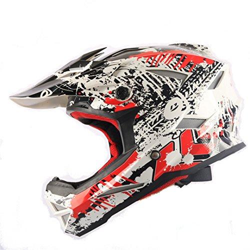 Harleeyr Cross Helm Professional Offroad Casque MTB Casco Marke Motocross Capacete Full Face Helm White Red S