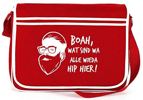 Boah, wat sind wa alle wieda hip hier! Retro Messenger Bag Kuriertasche Umhängetasche Rot