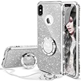 Custodia per iPhone X, Custodia per iPhone XS cellulare con brillantini e case con cavalletto, Anello per paraurti strass in diamanti con strass Custodia per iPhone X/iPhone XS sottile-Argento