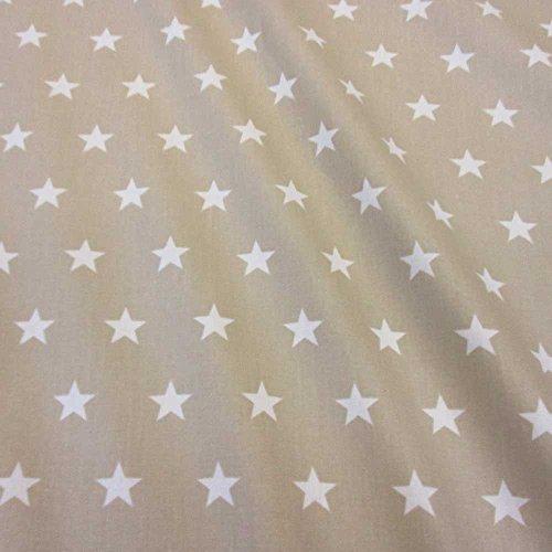 Stoff Meterware wasserdicht Sterne beige weiß Tischdecke Baumwolle beschichtet