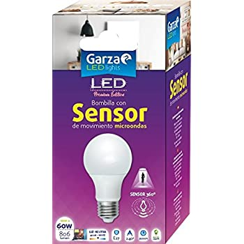 Garza Lighting - Bombilla LED con Sensor Microondas 360º, E27, 10 W, Luz