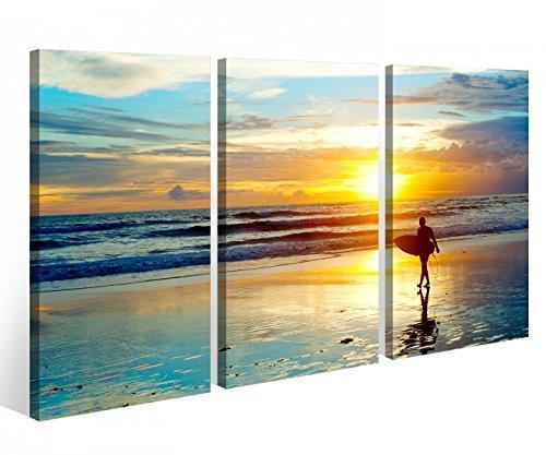 Leinwandbild 3 Tlg. Meer Surfer Surfen Sonnenuntergang Leinwand Bild Bilder Holz fertig gerahmt 9P913, 3 tlg BxH:120x80cm (3Stk 40x 80cm)