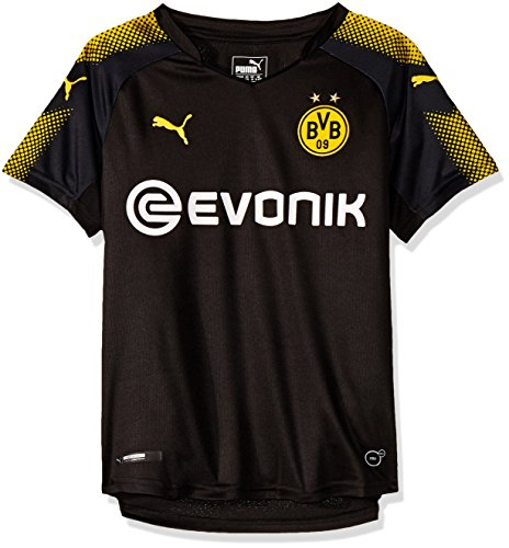 PUMA Jungen Bvb Kids Away Replica Shirt with Sponsor Logo T-Shirt, Puma Black-Cyber Yellow, 140