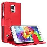 EnGive Samsung Galaxy S5 Hülle Ledertasche Schutzhülle Case Tasche mit Standfunktion und Karte Halter (Samsung Galaxy S5, rot)