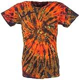 Guru-Shop Batik T-Shirt, Herren Kurzarm Tie Dye Shirt- Orange/bunt Spirale, Mehrfarbig, Baumwolle, Size:M, Rundhals Ausschnitt Alternative Bekleidung