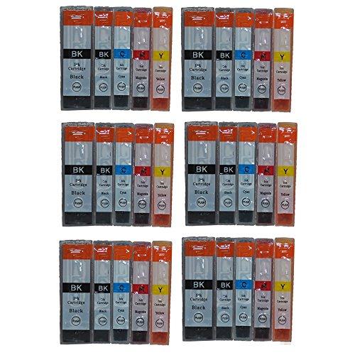 Preisvergleich Produktbild 3color 30x Druckerpatronen für Canon PIXMA IP4200 IP4300 IP4500 IP5200 IP5300 MP500 MP510 MP520 MP530 MP600 MP610 MP800 MP810 MP830 MP950 MP960 MP970 MX700 MX850 IX4000 IX5000 mit CHIP 30x Patronen 6xSchwarz 6xklein Schwarz 6xcyan 6xMageta 6xGelb