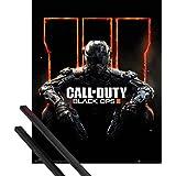 Póster + Soporte: Call Of Duty Póster Mini (50x40 cm) Black Ops 3, Guerrero Y 1 Lote De 2 Varillas Negras 1art1®