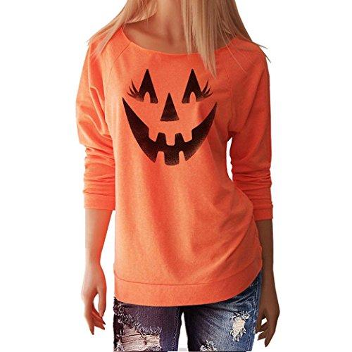 Damen Bluse,feiXIANG Damen Halloween Smile Kürbis Langarm Bluse Hemd (M, Orange)