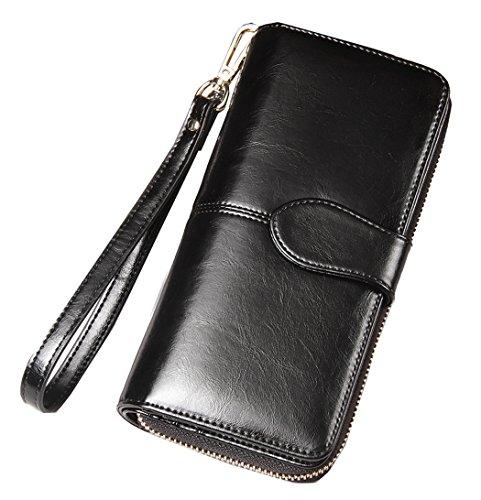 Longzibog Dual verstellbare Schultergurte und Hängeschlaufenband Mode geldbörse damen lang Schwarz