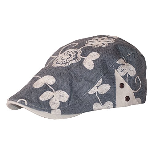 c73f8f9c331 Dazoriginal Womens Cotton Summer Flat Cap Grey Flower Ladies Duckbill Ivy  Hunting Irish Hat Golf Driver