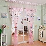 GUOCAIRONG® Ballon Tulle Voile Tür Fenster Vorhang Kinder Zimmer Drapieren Panel Sheer Schal Valances 100 * 200cm (Pink) 1PCS