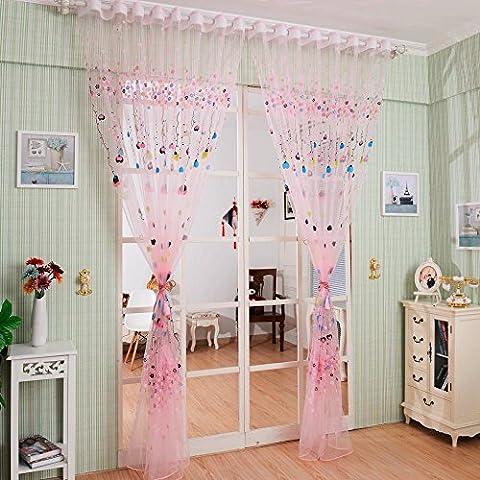 CF® Ballon Tulle Voile Tür Fenster Vorhang Kinder Zimmer Drapieren Panel Sheer Schal Valances 100 * 200cm (Pink) 1PCS