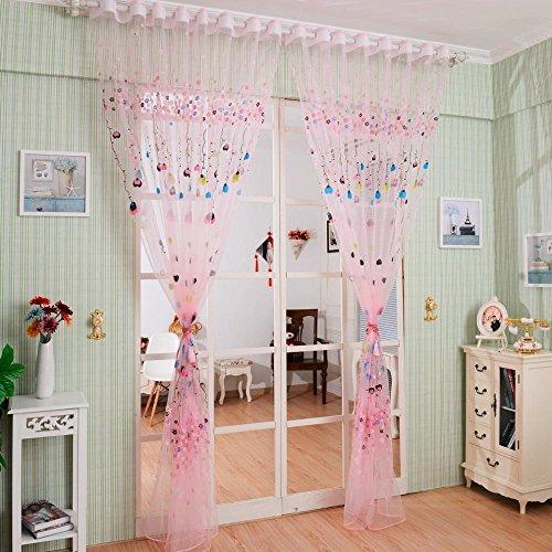 Preisvergleich Produktbild BKFF® Ballon Tulle Voile Tür Fenster Vorhang Kinder Zimmer Drapieren Panel Sheer Schal Valances 100 * 200cm (Pink) 1PCS