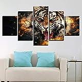 NHFGJ Imagen en Lienzo 5 Partes Paisaje Tigre Llama Animal de Pintura al óleo Impresión sobre Canvas Pintura Decorativa Moderna por Decoración del Hogar Salon sin Marco