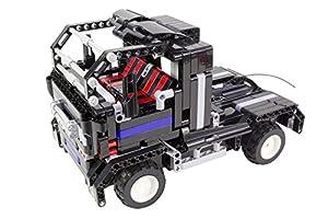 Tekno Toys 85000015-Active Bricks RC 2in1Truck y Deportivo, Negro