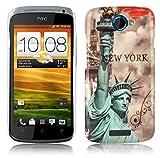 Cadorabo DE-102026 HTC ONE S Handyhülle im Design Hardcase mit Aufdruck Schutzhülle Bumper Back Case Cover New York - Freiheitsstatue