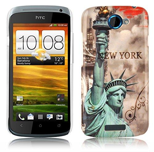 Cadorabo Hülle für HTC ONE S - Hülle im Design NEW YORK - FREIHEITSSTATUE – Hardcase Handyhülle mit Aufdruck - Schutzhülle Bumper Back Case Cover