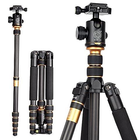Goin Q-666C Professionelle Fotografie Carbon Stativ Monopod Kit & Ball Kopf Kompakte Reise für DSLR Kamera Canon Nikon Petax Sony