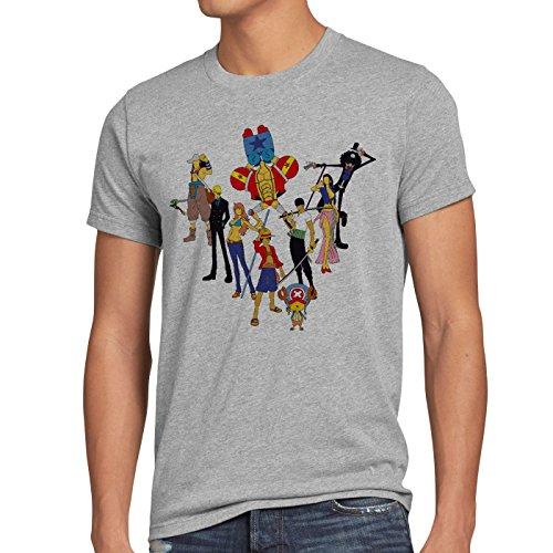 CottonCloud Piratenbande Herren T-Shirt Ruffy Zoro One Nami Lysop Monkey Piece Grau Meliert