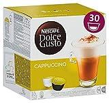 Nescafé Dolce Gusto Cappuccino, XXL-Vorratsbox, 30 Kapseln (15 Milch-, 15 Kaffeekapseln), 100% Arabica Bohnen, leichter Kaffeegenuss mit cremigem Milchschaum, 1er Pack (1 x 30 Kapseln)