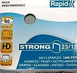 Rapid Agrafes en fil robuste Strong N°23, Longueur 12 mm, 1000 Agrafes, Agrafe jusqu'à 140 feuilles, Fil galvanisé, 24870000