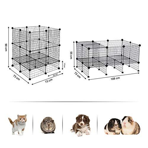 SONGMICS 20 + 12 Metallgitter Haustier-Laufstall mit Bodenplatten, Freigehege, individuell erweiterbarer DIY-Tierlaufgitter, für Welpen, Kaninchen, Meerschweinchen, inkl. Gummihammer, für Inneneinsatz, LPI03H - 5