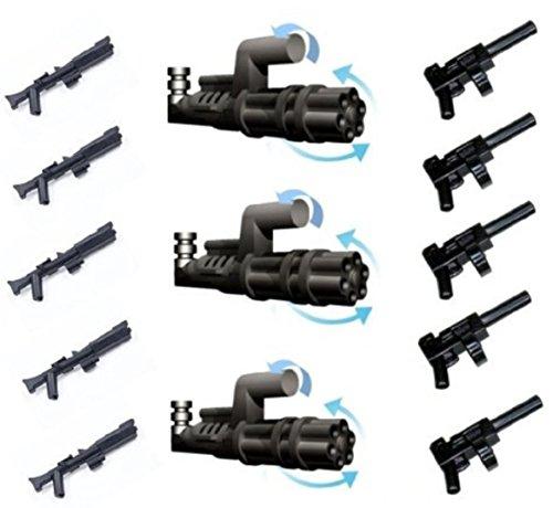 Little Arms Waffenset 3 x Minigun Pathmaker (Z-6 Rotationsblaster) und 5 x Tommy Gun (Maschinenpistole) sowie 5 x Rifle für Clone Trooper