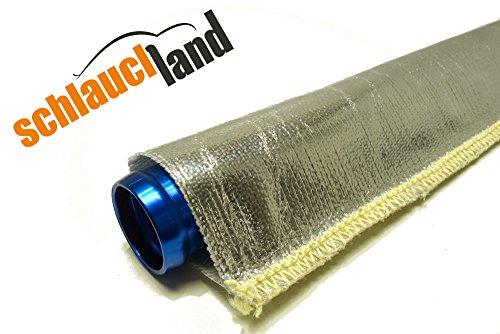 1m Alu-Titan Hitzeschutzschlauch ID 15mm gekettelt **** Wärmeschutz Kabelschutz Mantel Gewebeschlauch Ölleitung Benzinschlauch - 2 Kabel, 1 Schlauch-ofen