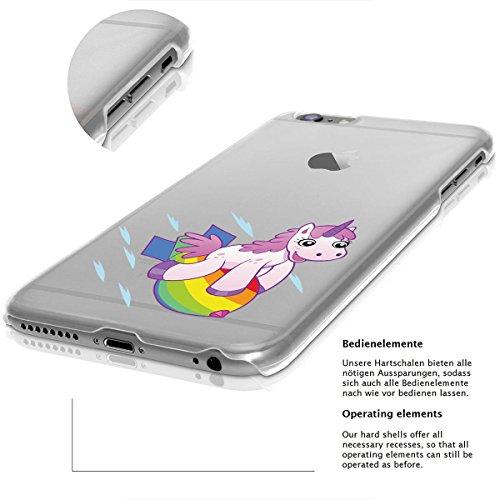 finoo | iPhone 8 Plus Handy-Tasche Schutzhülle | ultra leichte transparente Handyhülle in harter Ausführung | kratzfeste stylische Hard Schale mit Motiv Cover Case |Einhorn 02 Einhorn Rakete
