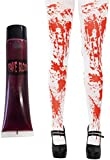 LADIES BLOOD STAINED TIGHTS WITH FREE TUBE OF BLOOD HALLOWEEN FANCY DRESS ACCESSORY FASHION STOCKINGS WHITE HOLD UPS WITH BLOOD SPLATTER HOSIERY ONE SIZE FITS UK 6-16