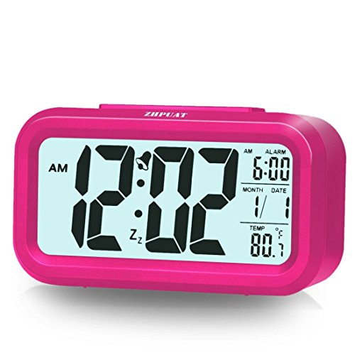 "ZHPUAT 4.6"" Display Digital Alarm Clock for Girls with Smart Controllable Backlight Pink"