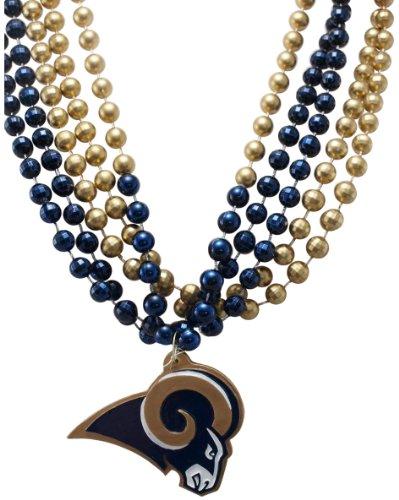 Mardi Für Perlen Gras (NFL St Louis Rams Team Medaillon und mardi-gras Bead)
