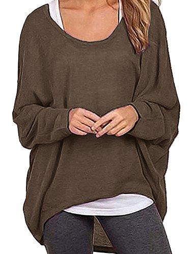 LYXIOF Damen Shirt Langarm Rundhalsausschnitt Bluse Lose T-Shirts Oversize Oberteil Tops